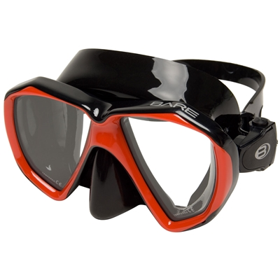 Маска для плавания Bare DUO, черно-красная